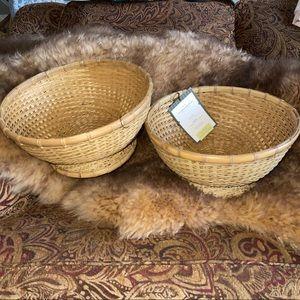 Set of (2)!!Threshold Bamboo Boho Baskets